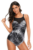 Ink Palm Leaf Print Beach Monokini Swimsuit