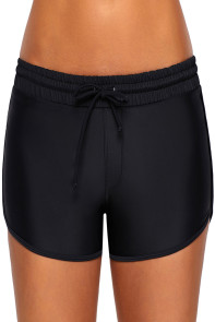 Black Elastic Waist Board Shorts for Women