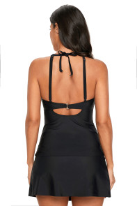Black Macrame Strappy Detail Tankini and Skort Swimsuit