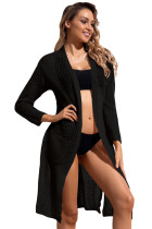 Black Lightweight Knit Pocket Beach Coverup Cardigan