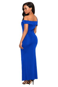 Royal Blue Asymmetric Off Shoulder Look High Waist Party Gown