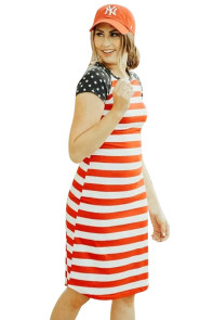 Red Striped Patriotic Tee Dress