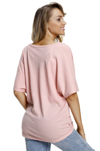 Pink Dolman Buttoned Front Top with Tie