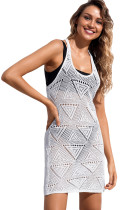 White Geometric Crochet Beach Swim Cover up