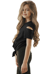 Black Cut Out Shoulder Tie Front Tee