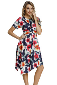 Navy Floral Print Twist Front Handkerchief Hem Dress