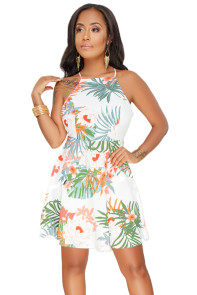 White Floral Open Back Fit-and-flare Mini Dress