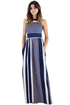 Navy White Striped Pocket Style Maxi Tank Dress