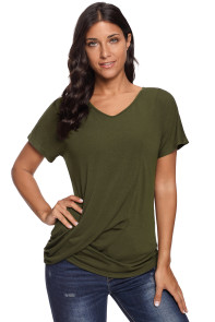 Olive V-Neck Twist Ruched Basic Short Sleeve Tee