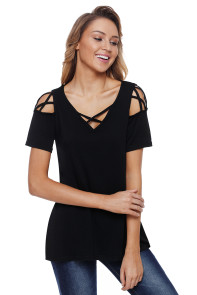 Black Strappy Cold Shoulder Top