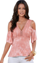 Pink Cold Shoulder Tie Dye V Neck Top