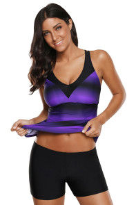 Purple Black Ombre Print Strappy Tankini and Short Set