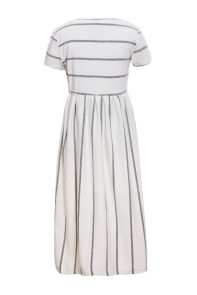 White Striped Short Sleeve Girl Maxi Dress