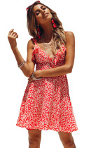 Red Dot Floral Printed Ruffle Mini Dress