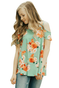 Green Floral Print Cold Shoulder Top for Girls