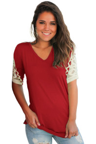 Burgundy Ruched Top with Crochet Detail