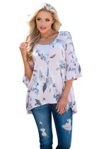 Mid Length Bell Sleeve Pink Floral Blouse