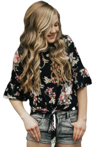 Black Floral Front Tie Ruffle Sleeve Top for Girl