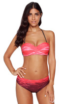 Red Gradient Print Halter Bandeau Bikini Swimsuit