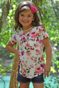 White Pink Floral Print Girls' Short Sleeve Tee