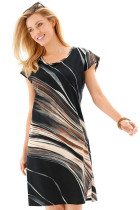 Black Taupe Tie Dye Print Cap Sleeve Sheath Dress