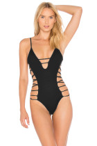 Black O-ring Detail Strappy One Piece Swimsuit