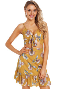 Mustard Floral Print Tie Front Bralette and A-line Mini Skirt