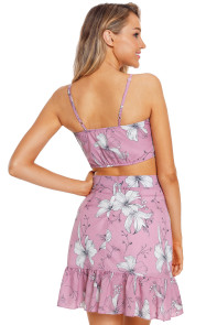 Violet Floral Print Tie Front Bralette and A-line Mini Skirt