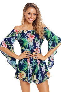 Navy Tropical Off Shoulder Romper