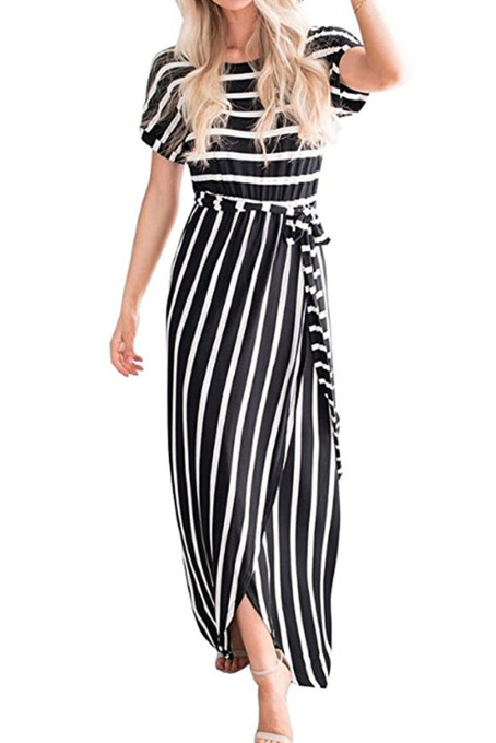Black White Striped Drape Slit Maxi Dress with Belt