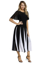 Black White Hemline Patchwork Fit-and-flare Chiffon Dress