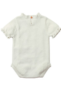 White Vintage Knit Short Sleeve Toddler Onesies