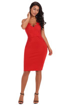 Red Eyelash Lace Bodice Bodycon Party Dress