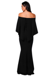 Black Off Shoulder Poncho Gown Mermaid Dress