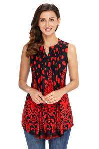 Red Black Floral Print Ruched Tank Top