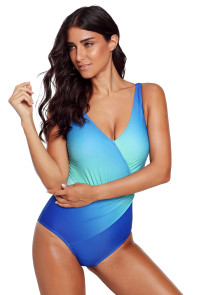 Blue Ombre Tie Dye Wrap Front Teddy Swimsuit