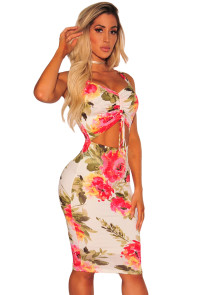 Sassy Ruched Cut out Front Floral Dress