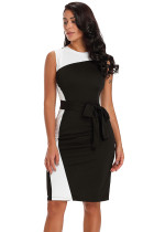 Asymmetric Black White Patchwork Belted Sheath Dress