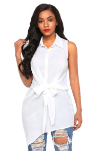 White Tie Front Sleeveless Long Blouse