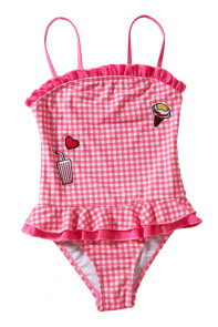 Ruffle Trim Red Plaid Little Girls Swimsuit