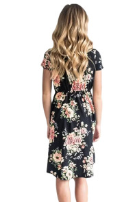 Little Girl Favorite Summer Floral Dress Black