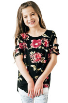 Black Floral Print Ladder Short Sleeve Top