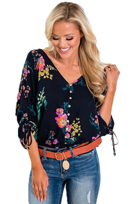 Vanilla Floral Button up Top in Blue