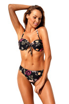 Floral Bow Tie Bandeau Bikini 2pcs Bathing Suit