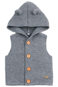 Grey Cute Ears Hooded Toddler Sweaters Vest