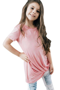 Pink Twist Drape Short Sleeve Tee for Girls