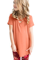 Coral Crisscross V Neck Short Sleeve Tee for Little Girl
