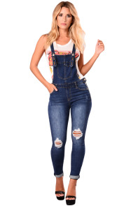 Dark Blue Denim Laidback Distressed Overalls