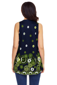 Navy Green Floral Print Flowy Tank Top