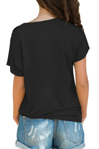 Glittery Cross Shoulder Detail Black Short Sleeve Tee